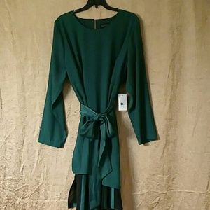 Eloquii Hunter Green Stripe Underlay Dres